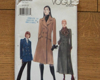 1999 vogue pattern 7144 misses coat in 3 lengths sz 18-20-22 uncut  fitted, A-line, lined ,double breasted