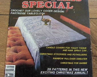 vintage 1983 crochet Christmas special partridge tablecloth,fashion doll dress,ornaments,gnome Smurf slippers,baby set, plus more