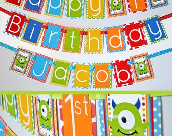 Monster Birthday Party Decorations Banner | Monsters Theme | Monster Party Banner | Our Little Monster | First Birthday |