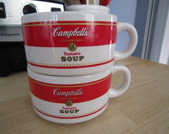 Campbells Tomatoe Soup Mugs Handled Bowls