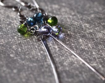 Colorful handmade melted multi glass drop and hammered stick earrings