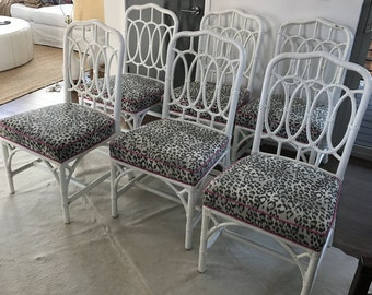 Ficks Reed White Lacquered Dining Chairs Set of 6