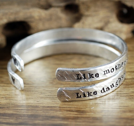 Mother Daughter Bracelet Set, Like Mother Like Daughter, Custom Cuff Bracelet, Gift for Daugher, Gift for Mom, Hand Stamped Bracelets
