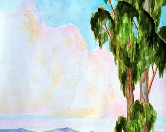Impressionist 18 x 24 Watercolor Painting CALIFORNIA Plein Air EUCALYPTUS Salinas FARM Landscape Art 18 x 24 Lynne French