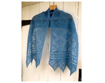 Hand knitted fine blue Shetland lace scarf