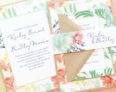 Wedding Invitations, Tropical Beach Destination Wedding Invitations, Wedding Invites, Mint and Coral Wedding Invitations