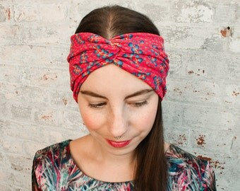 Liberty Print Turban Headband - red womens turban headwrap - floral print headband - adult turban headband - workout headband - gift for her