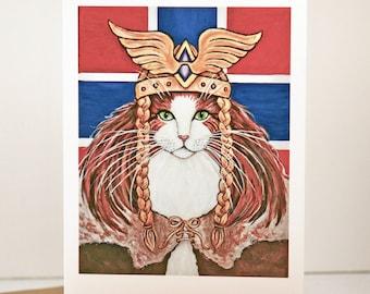 Cat Greeting Card, Freya Goddes of love and war norwegian forest cat