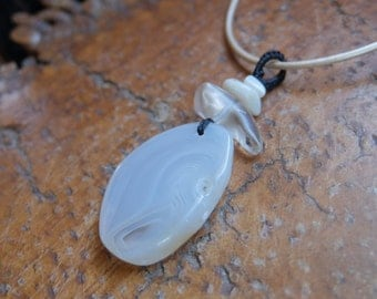 Agate & Opal, glass jewelry  - unique natural stone pendant necklace - handmade white jewellery in Australia
