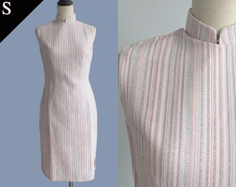 60s Mod USA Vintage Cheongsam Qipao Oriental Stripe Poly knit dress/ Metallic Pink White/ Small