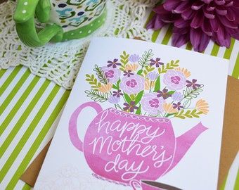 Happy Mother's Day, Mother's Day Card Floral, Teapot bouquet, Mama, Mom, Pink, Pretty, Stationery, Hand Drawn, Illustration, Flowers