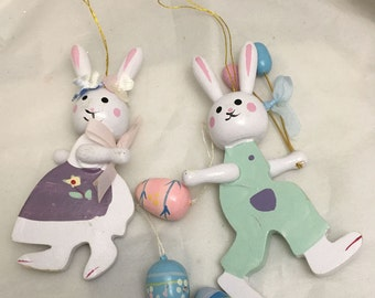 Papa Bunny and Mama Bunny Easter Eggs Small Painted Wood Ornaments