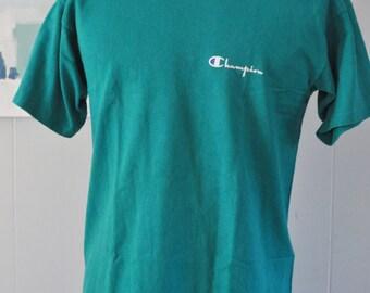 Champion Tee Teal Tshirt Aqua Green Simple Classic Design Vintage Tshirt LARGE