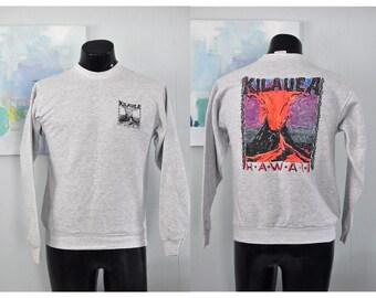 Neon Hawaii Sweatshirt Gray Kilauea Soft n Comfy Simple SMALL