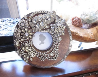 Vintage Modern Rustic Rhinestone Picture Frame Fabulous Jewelry One of a Kind