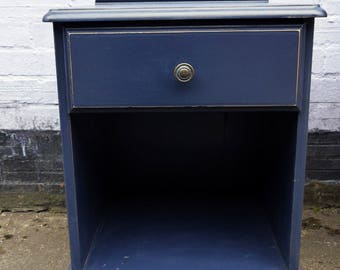 Vintage bedside cabinet hand painted in Fusion Mineral Paint Midnight Blue