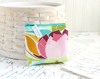 Floral Coin Purse Small Colorful Coin Purse Waterlily Change Purse Card Holder Zipper Pouch