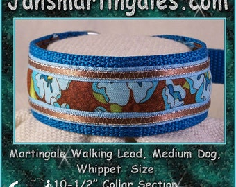 Jansmartingales, Turquoise Collar and Leash Combination Walking Lead, Whippet, Medium Dog Size, wtrq122