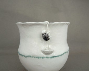 Cup in white porcelain with rope climbing sheep - handmade ceramic whimsical vessel