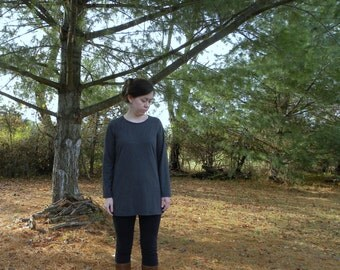 Womens Cotton Clothing T Shirt Tunic Long Sleeves Made in the USA - Made to Order - Everyday