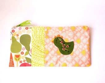 "Zipper Pouch, 5x10"" in green, gold, peach, pink, and cream print fabric with Handmade Felt Chicken Embellishment, Chicken Zipper Pouch"