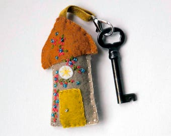 """Wool Felt House Key Chain in copper, gold and taupe with coral and teal Embroidered Floral and Beaded Embellishments, 3.25x1.75"""""""