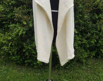 Knit Alpaca Vest, Natural White Drape Vest, Alpaca Sweater, Natural Fiber Vest, Natural Color, Home Grown Suri Alpaca, Eira Vest