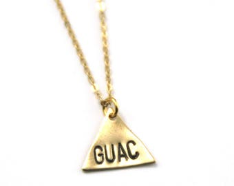 Guac Geometric Necklace | Gold Guac Is Life Necklace | I Know The Guac Is Extra | Chipotle | Guacamole Necklace | Taco Tuesday