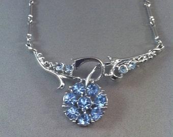 Vintage Coro Blue Rhinestone Necklace, Silvertone Metal Floral Coro Necklace, Coro Jewelry, Elegant Sky Blue Rhinestone Necklace *USA ONLY**