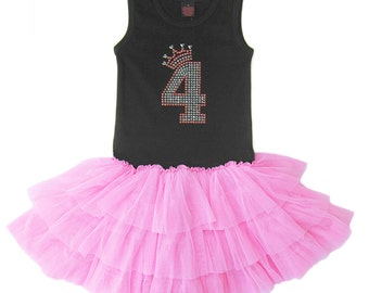 4th Birthday Girl, Fourth Birthday, Birthday Dress, Girls Tutu Dress, Birthday Princess, Birthday Number, Girls Party Dress