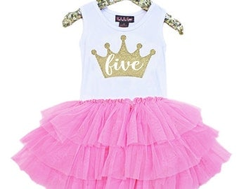 Sale, Fifth Birthday Outfit, 5th Birthday Dress, Pink and Gold Dress with gold crown, Pink tutu for girls 5th birthday