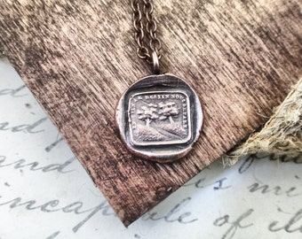 Goodbye Gift - Destiny Separates Us - French Wax Seal Pendant - Gold Bronze Necklace