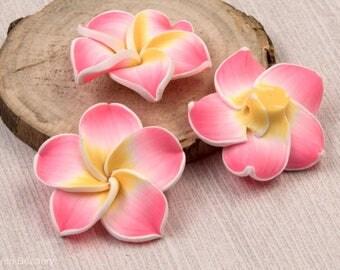 Flower Beads,  10 pcs, 30mm,   Polymer Clay Beads, Light Pink  -B2