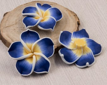 Blue  Flower Beads, Polymer Clay,  10 pcs, 30mm, Floral Beads  - B9