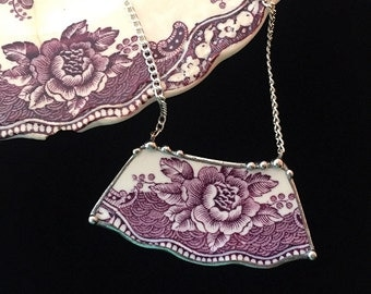 Broken china jewelry - broken china necklace - antique floral purple plum mulberry toile English transferware, recycled, upcycled china