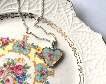 Broken china jewelry - broken china heart pendant necklace - antique china -  pink roses