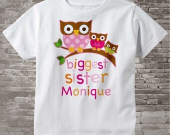 Girl's Biggest Sister Shirt for Oldest Sister Owl Tee Shirt or Biggest Sister Onesie Pregnancy Announcement 09212012a