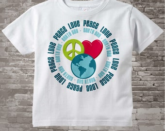 Peace Love Earth Day Shirt | Earth Day Onesie Bodysuit | Earth Day Shirt with Peace Sign and Heart | 04012015g