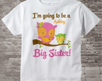 Big Sister Shirt I'm going to Be a Big Sister Owl Tee Shirt or Big Sister Onesie Pregnancy Announcement, Owl Big Sister (08082012b)