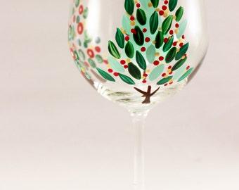 Modern Christmas Tree - hand painted wine glass - Holiday glassware - single glass