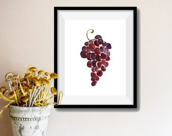 Grapes art  print, Grapes watercolor painting, purple grapes, Still life painting, Kitchen art, home decor, fruits  print, fruits art
