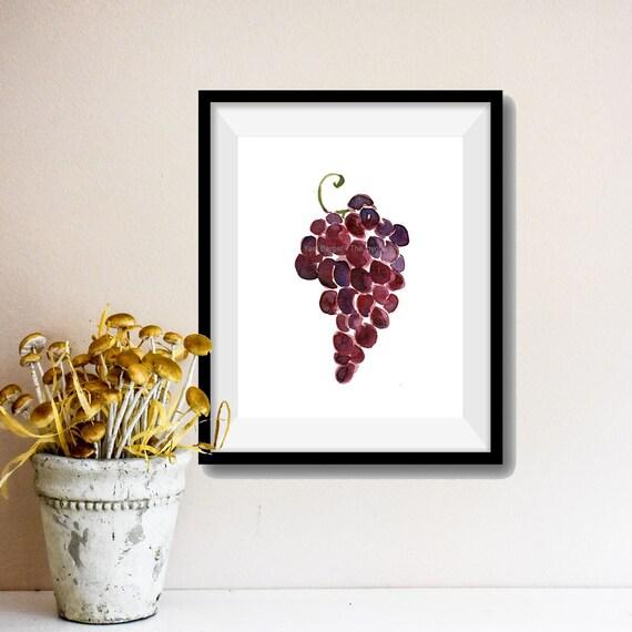 Grapes art  print, Grapes watercolor painting, purple grapes, Still life painting, Kitchen art, home decor, fruits  print, fruits art