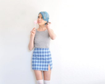 1990s plaid textured tank top . preppy clueless green gray blue shirt .small