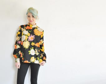 retro 70s floral blouse . short collar orange yellow pink black garden shirt .medium