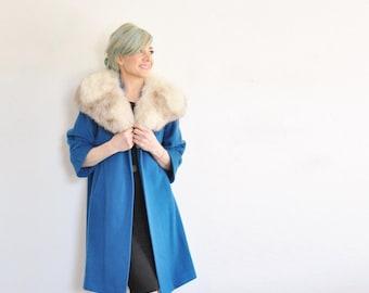 aquamarine blue wool swing coat . blond rabbit fur collar jacket .small.medium.large .sale