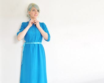 bright TEAL silk shirtwaist . blue green button down secretary dress .medium.large .sale