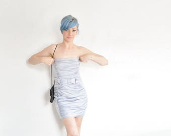 pale silver Gunne Sax mini dress . fanciest high class prostitute wear .extra small.xs
