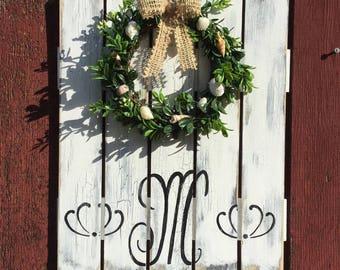 Boxwood Seashell wreath Monogram Sign Mothers Day Coastal Decor