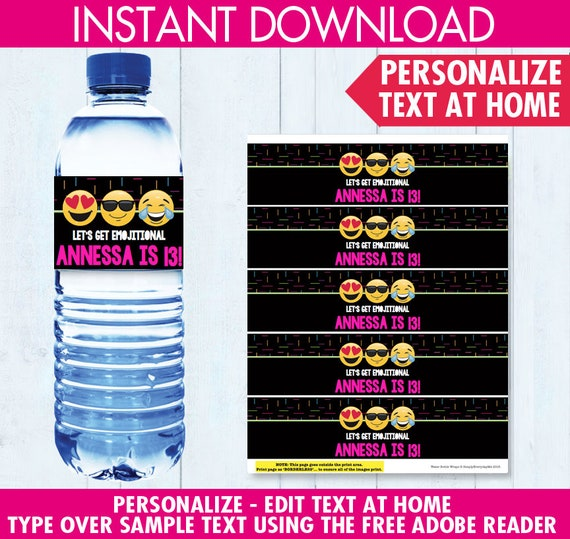 Emoji Party Water Bottle Label / Wrap Emoji Theme Birthday
