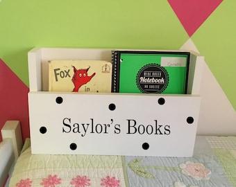 personalized book holder, wooden bin, book caddy, toy storage, reading nook, homework organizer, magazine rack, mail organizer, play room